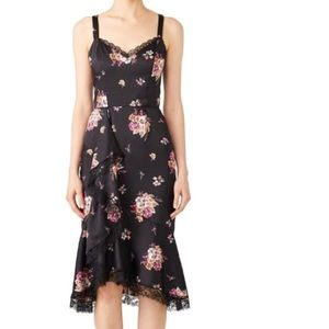 Slate and Willow black floral dress, ruffle dress